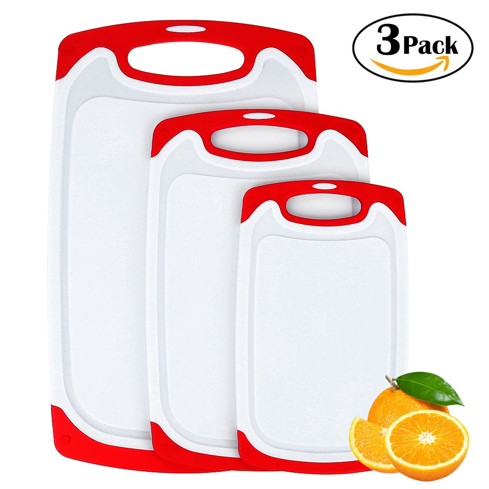 Plastic Cutting Board, 3 Packs Chopping Board with Food Grade PP Anti-Microbial and Deep Drip Juice Groove for Kitchen Tool-Red