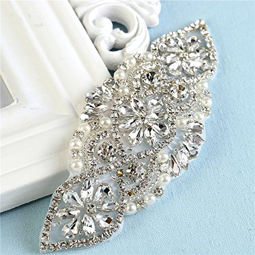 Crystal Rhinestone Appliques Pearls Beaded Embellishments Handcrafted Sparkle Elegant Sewing on Hot fix for DIY Wedding Gown Bridal Belts Sashes Prom Evening Women Dresses - Rose Gold (Iron Sash)