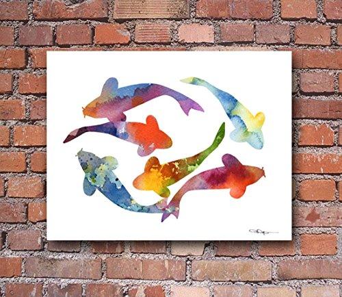 Koi Fish Abstract Watercolor Art Print By Artist DJ Rogers
