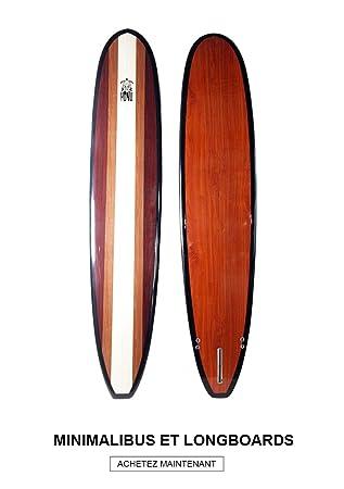 HONU Longboard 9 6 Acabado Bamboo – Long Board Retro + 3 derives