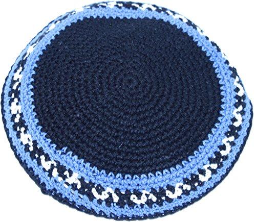 Holy-Land-Market-BlackSky-Blue-17cm-DMC-100-Knitted-Cotton-Kippah-Torah-Yarmulke-Skullcap
