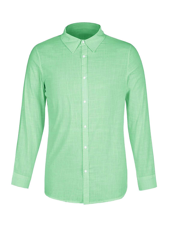 ThusFar Men\'s Button Up Linen Shirts - Summer Long Sleeve Button Down Hippie Shirts Medium Green