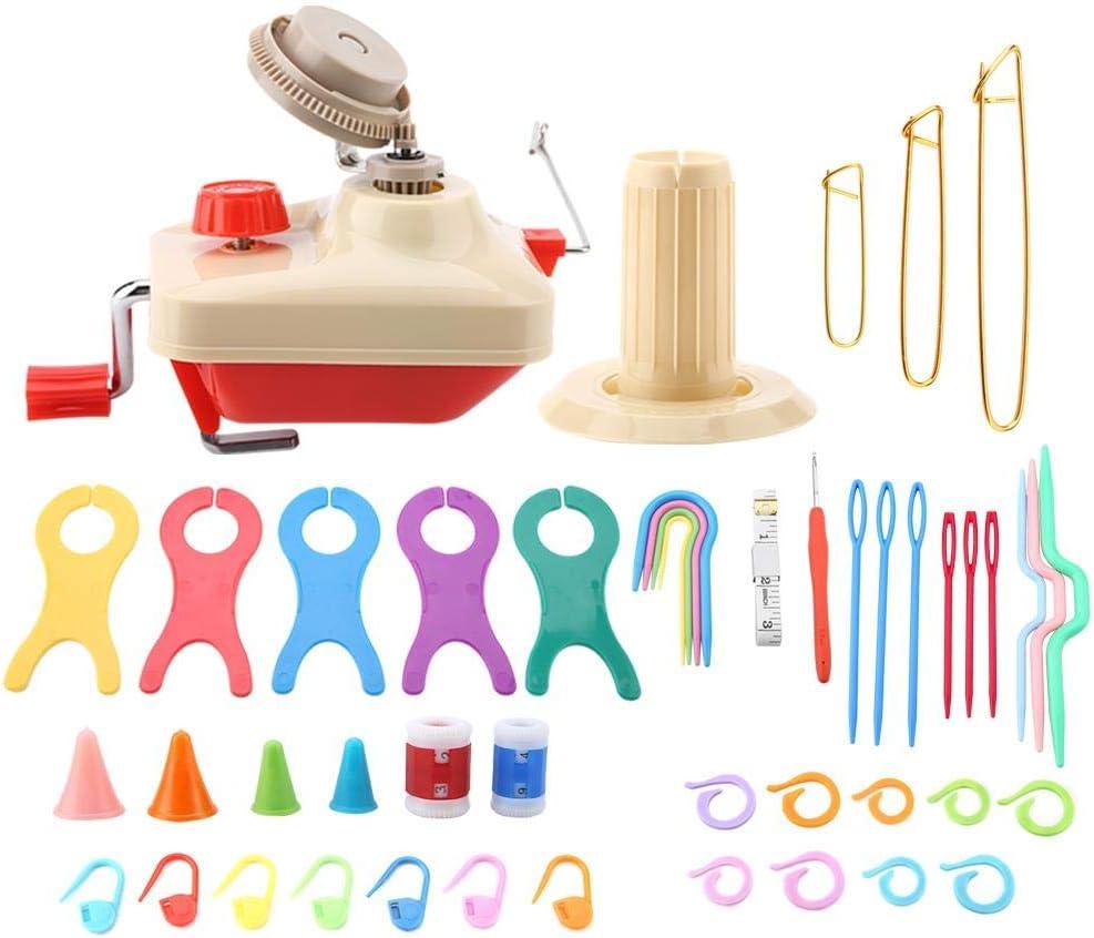 HEEPDD Yarn Ball Winder Knitting Wool Winder Kit with Winder Board Plastic Pins Counter Measuring Tape Weaving Tool Set