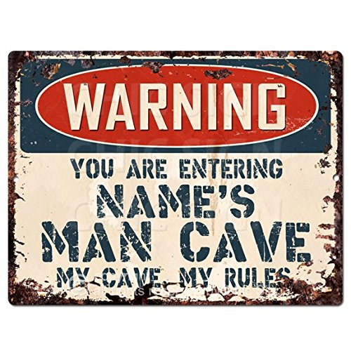Warning Name's Man CAVE Custom Personalized Chic Sign Vintage Retro Rustic 9″x 12″ Metal Plate Store Home Man cave Funny Decor Gift Ideas