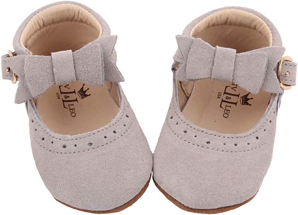 Liv /& Leo New Baby Girls Mary Jane Oxford Soft Sole Crib Shoes Leather with Bow