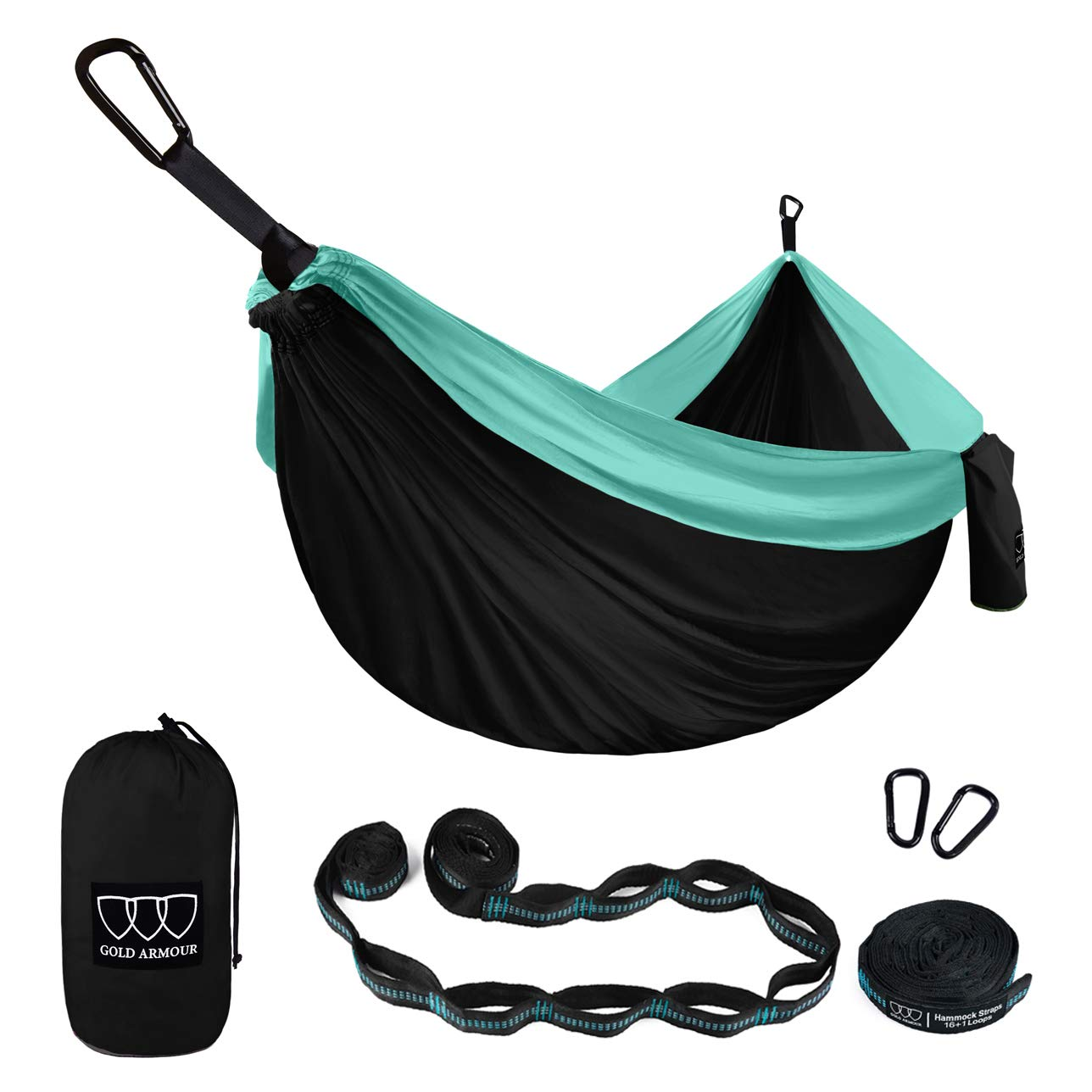 Gold Armour Camping Hammock - XL Double Parachute Hammock (2 Tree Straps 16 LOOPS/10 FT Included) USA Brand Lightweight Nylon Mens Womens Kids, Best Camping Accessories Gear (Black and Seafoam) by Gold Armour