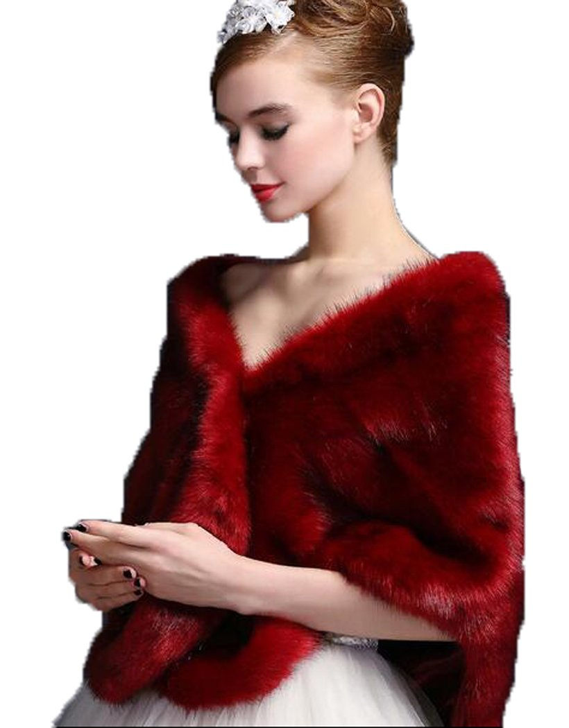 DKBridal Women's Fur Wraps Winter Party Warm Coat Wedding Fur Shawl (Brugundy)