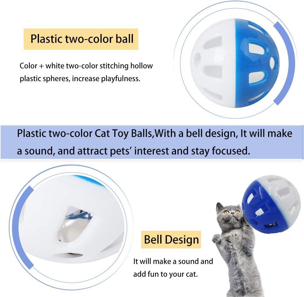 Juguetes Coloridos para Gatos para Interiores Juguetes para Gatos Pelotas Pelotas de Peluche para Gato Color Aleatorio 12PCS Bolas para Gatos con Campana Juguetes interactivos para Gatos Pelotas