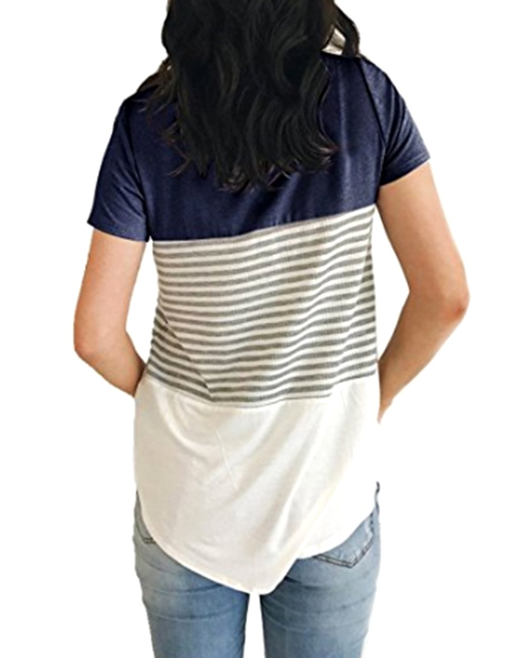 Miskely Women's Summer Short Sleeve Striped Blouse Junior Casual Tunic Tops T-Shirt (Small, Navy Blue) by Miskely (Image #2)