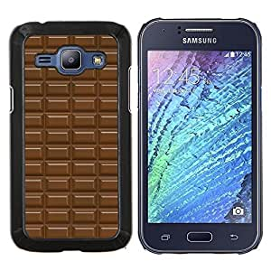 KLONGSHOP // Cubierta de piel con cierre a presión Shell trasero duro de goma Protección Caso - modelo de barra de chocolate dulce - Samsung Galaxy J1 J100 //