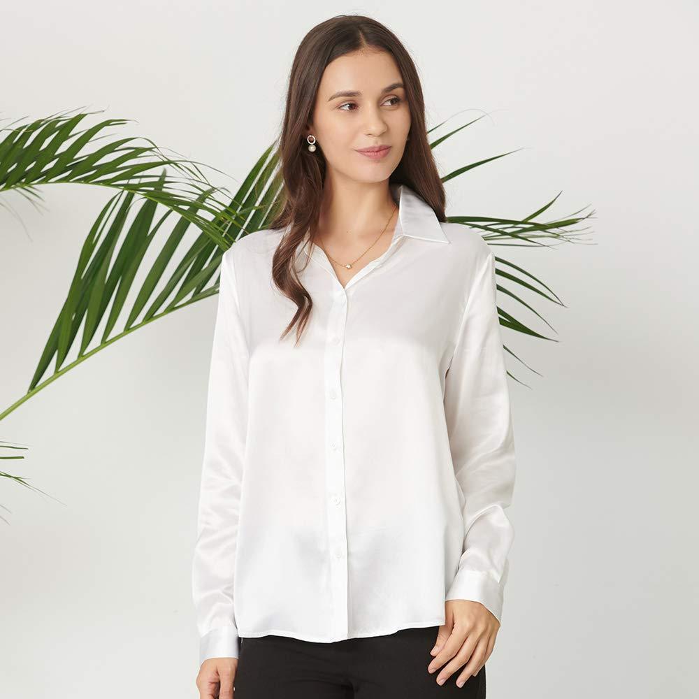 1ef4ea2c5cbbdf Mommesilk Women's Silk Blouse Long Sleeve Button Down Shirt Tops for Women  100% Pure Silk White at Amazon Women's Clothing store: