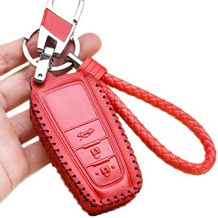 Womens Red Leather Key Fob Case Cover Holder Protection Bag Shell with  Braided Key Chain   Key Rings Fit for Toyota Camry 2018 Toyota C-HR Smart  Keyless ... 3b69a5e8f