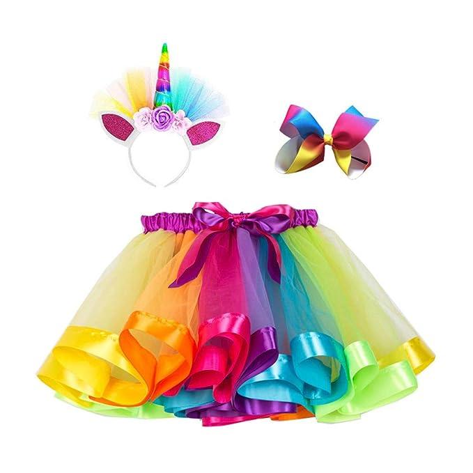 c6837ab673050 Amazon.com: Little Girls' Layered Rainbow Tulle Tutu Skirt with Unicorn  Headband Hair Bow & Satin Sash - Unicorn Costumes: Clothing