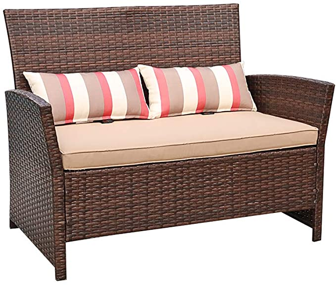 Sofa Cover /& 2 Throw Pillows Included Dark Grey PE Wicker SUNSITT Outdoor Wicker Loveseat Patio Furniture with Cushions