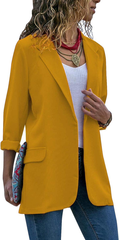 Auxo Women Blazer Jacket Sequin Long Sleeve Slim Fitted Open Lapel Office Jacket Coat Casual Autumn Outerwear