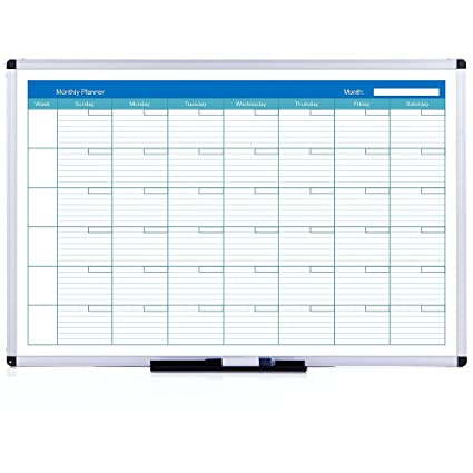 VIZ-PRO Calendario magnético - Ideal Planificador mensual - Pizarra blanca magnética con marco de aluminio - 90 x 60 cm