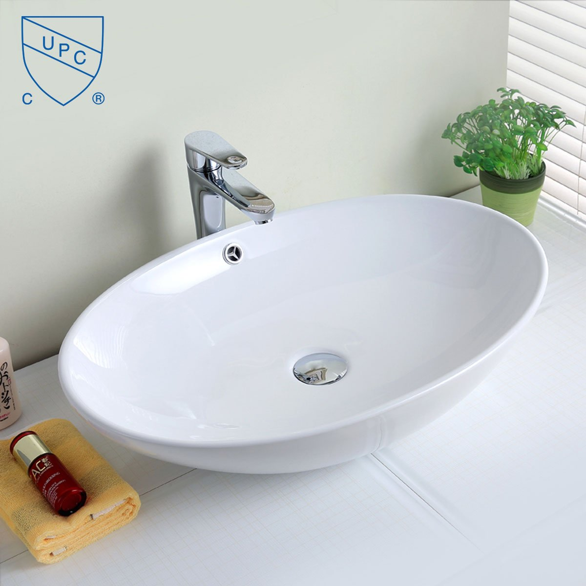 Modern Oval Porcelain Above Counter White Ceramic Bathroom Vessel Sink E-CL-1164