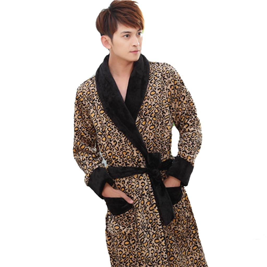 Winter pajamas for men and women Shuipao short plush thick bathrobes pajamas home couples models spring and autumn winter , male leopard gown , m