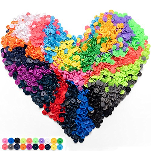 600 Sets Plastic T5 Snaps Buttons, 20 Colors No-Sew Snap Fasteners Button Kit for Baby Kids Infants Onesies Clothes Rain Coat Diaper Bib Sewing Crafting ()