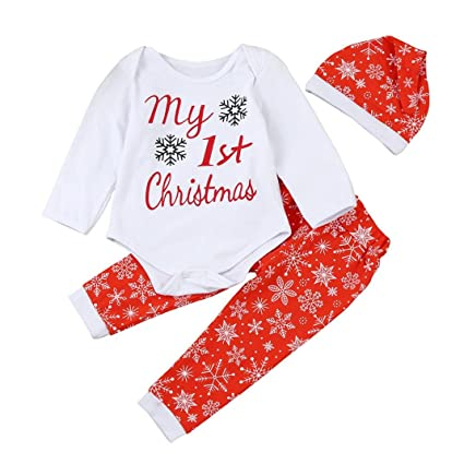 1150dea22b98 Amazon.com  Gotd Newborn Baby Boy Girl 3pcs Set Outfits Christmas ...