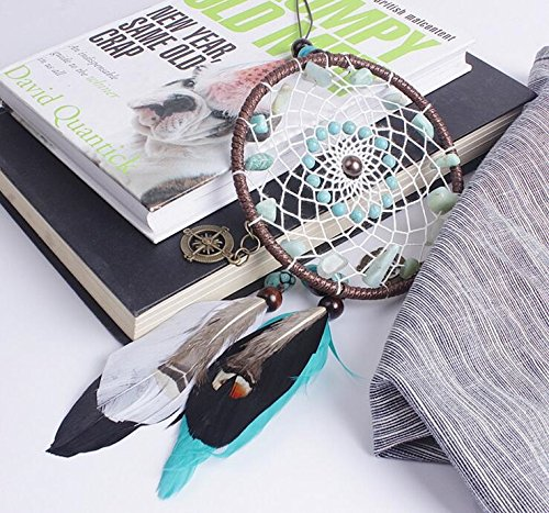 Qingsm Green Lucky Bead Handmade Natural Feathers Dream Catcher Car Home Hanging