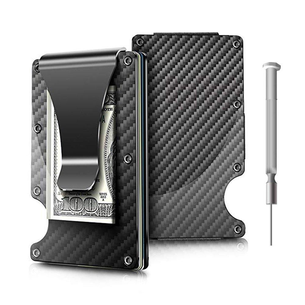 Money Clip, Carbon Fiber Wallet - Minimalist Wallets Credit Card Holder RFID Blocking Wallets Carbon Fiber Money Clip For Men Or Women (black) BAOHOKE