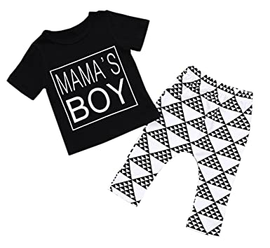 fb4bd29ed Amazon.com: ''Mama's Boy'' Toddler Baby Boy Tshirts + Long Pants ...