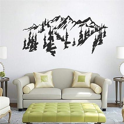 Guijiumai Style Chinois Montagnes Arbres Mur Art Sticker