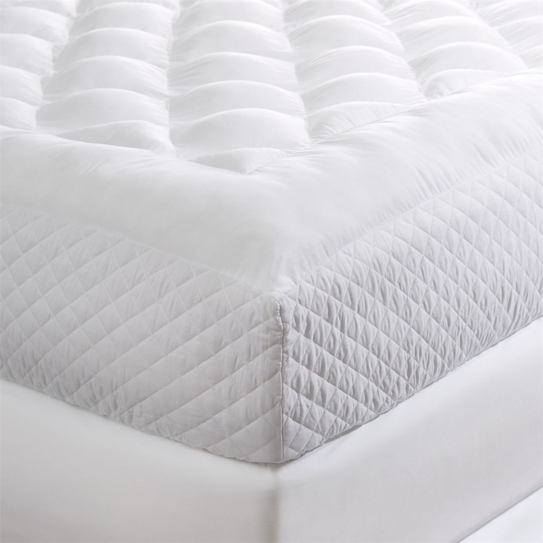 BrylaneHome Tranquil Puff Side-Wall Mattress Pad (White,King)