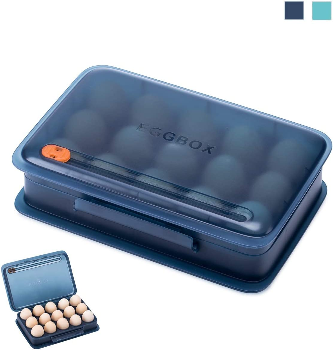 Egg Holder for Refrigerator, Fridge Egg Storage Box Container and Organizer for kitchen, Egg Carrier Bin with Lid, Hold 15 Eggs, Transparent (Navy Blue)