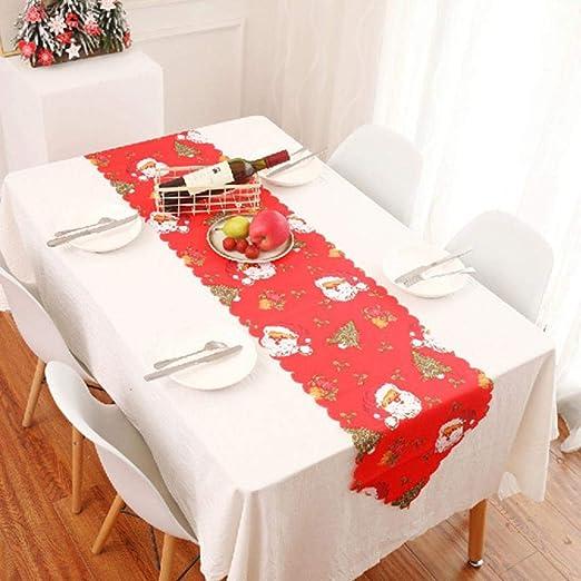Camino de mesa navideño Vintage rojo Papá Noel Poinsettia y Holly ...