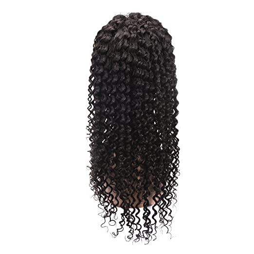 Amazon.com : Half Hand-Tied Capless Glueless Lace Front Human Hair Wigs for Black Women Deep Wave Long 100 Real Brazilian Remy Virgin Hair Peluca 130% ...