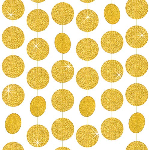 RUBFAC 5 Pack 65ft Paper Garland Glitter Gold Circle Dots Hanging Decorations for Baby Shower Birthday Party Wedding Decorations -