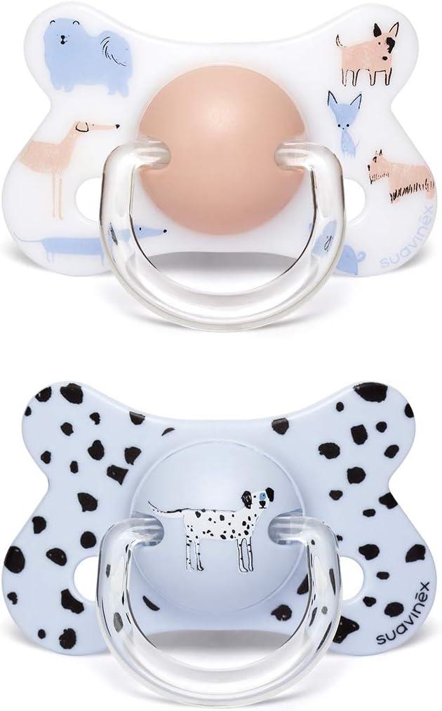 Suavinex color Perritos Azul con tetina fisiol/ógica silicona Pack 2 chupetes para beb/és +18 meses