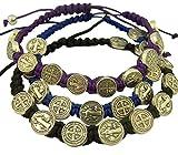 Saint Benedict Evil Protection Medal on Adjustable Cord Bracelet, Set of 3, 8 Inch (One Set (Black, Blue, Purple))