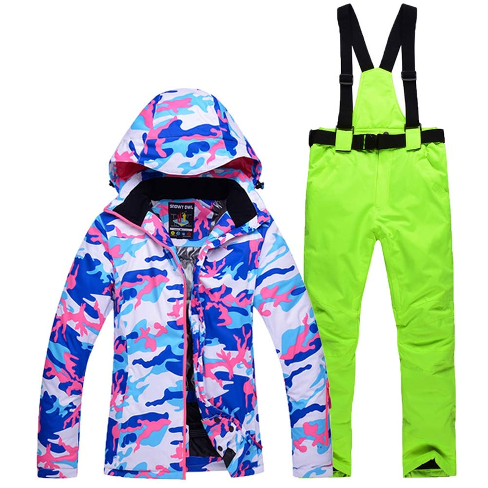 Womans Snow Ski Suit, Suspenders Ski Pants + Ski Jacket Breathable and Windproof Waterproof Color and Size to Choice,4,S HXRYFC