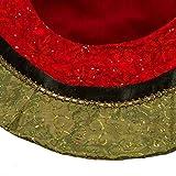 Kurt Adler Velvet and Silk Gold/Green/Red Scalloped Embroidered Sequin Treeskirt with Metallic Trim, 54-Inch