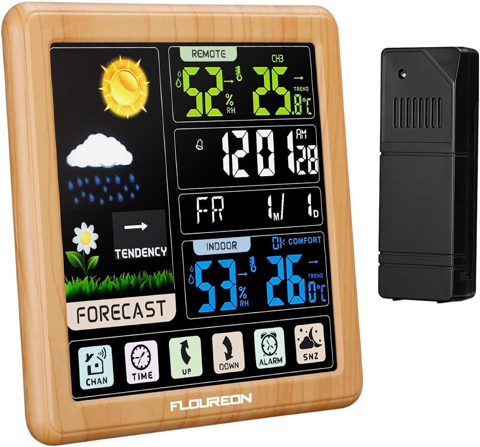 FLOUREON Estación Meteorológica Inalámbrica con Sensor para Exterior Interior Higrómetro Digital Alarma Reloj con Pantalla Táctil Monitor de Temperatura y Humedad