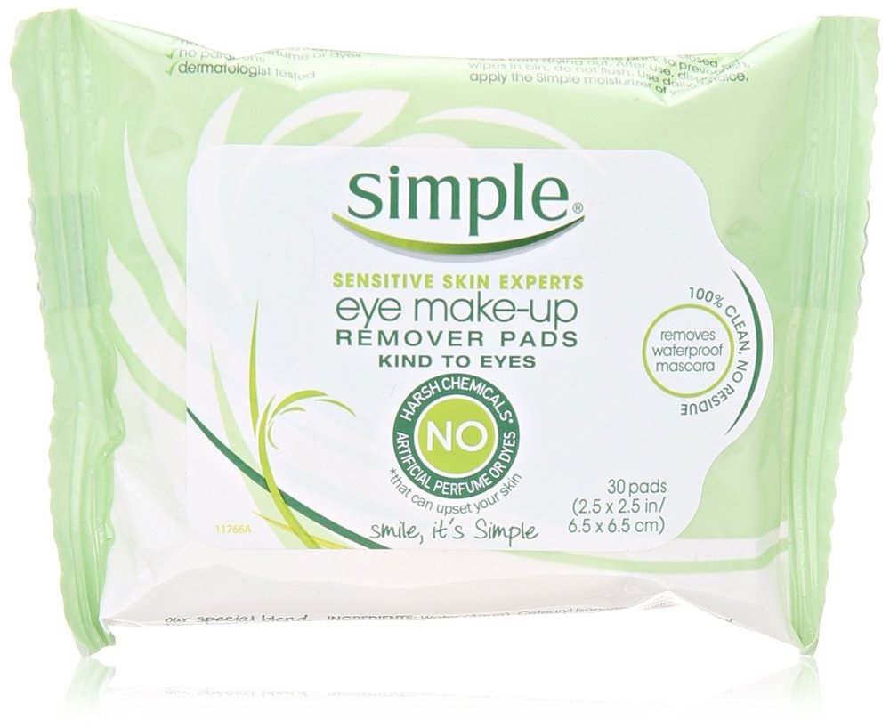 Simple Eye Makeup Remover Pads, 30 Ct Pack of 2