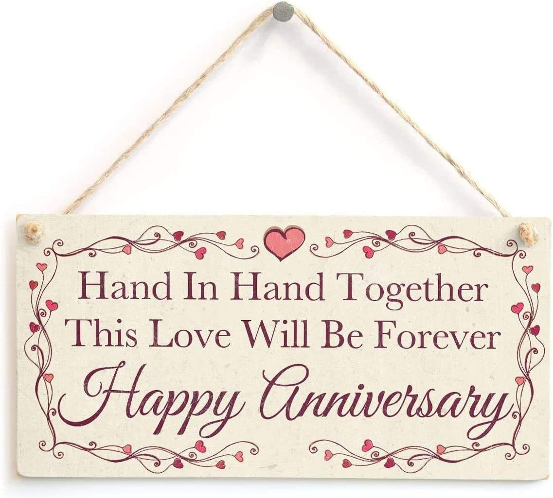 INNAPER Hand in Hand Together This Love Will Be Forever Happy Anniversary Special Wedding Anniversary Plaque 12x6(49BW2032)