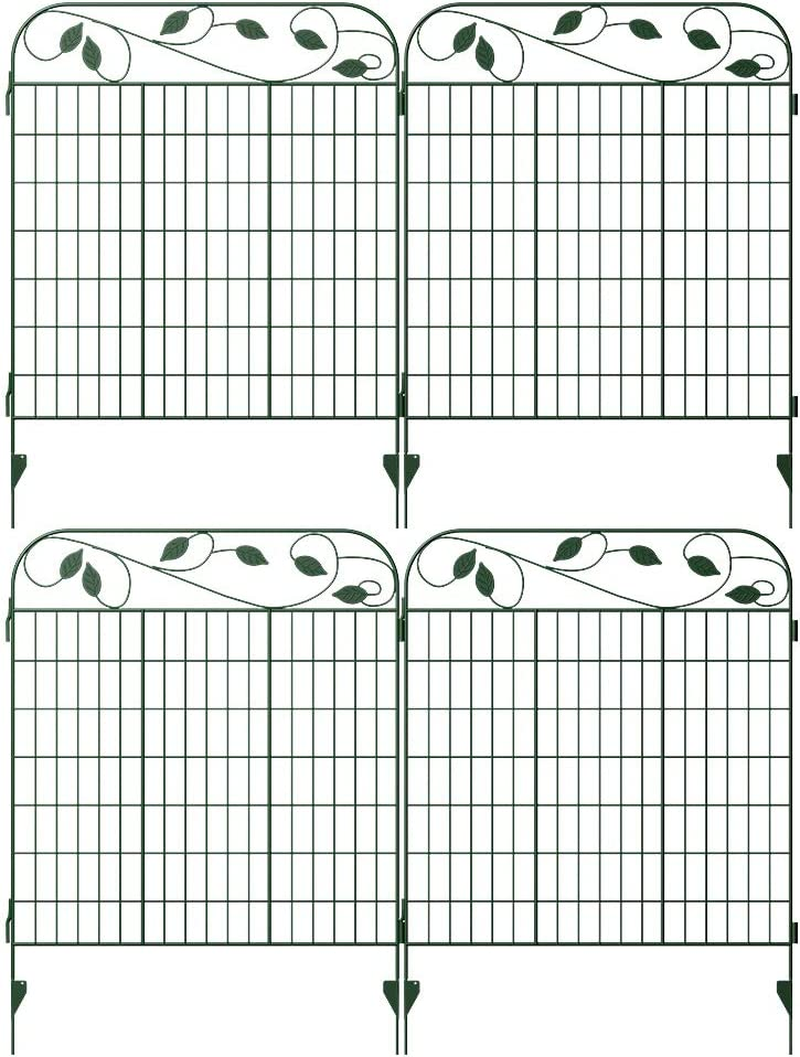 "Amagabeli Metal Garden Fence Border 44""x 36"" 4Pack Heavy Duty Tall Rustproof Decorative Garden Fencing Panels Animal Barrier Iron Edge Garden Gates Outdoor for Landscape Folding Fence Gate Green"