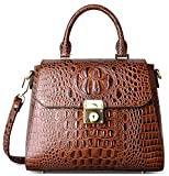 PIFUREN Womens Top Handle Satchel Handbags Leather Tote Purse Shoulder Bag C69682 Brown