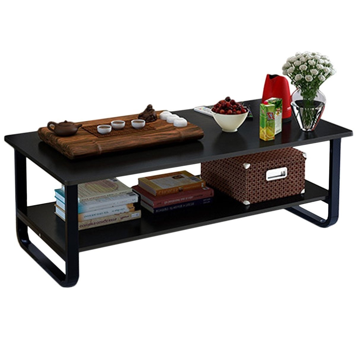 rectangular coffee tea table with storage shelf black 606157362772 ebay. Black Bedroom Furniture Sets. Home Design Ideas