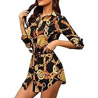 Camisa Vestido Sexy Mujer, Dragon868 Verano Casual Mini Vestidos Cortos, Vintage Estampado Vestidos de Cuello En V con…