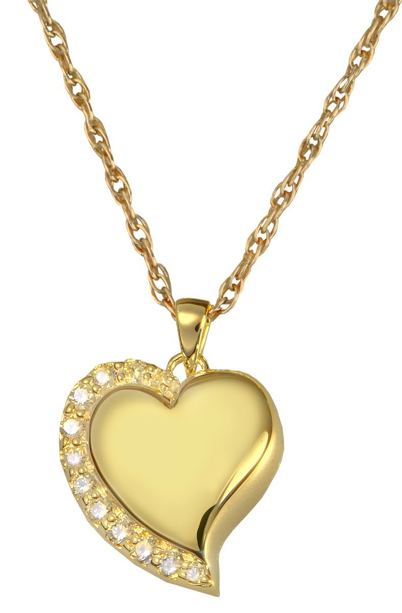 Memorial Gallery 3806gp Shine Heart 14K Gold/Sterling Silver Plating Cremation Pet Jewelry by Memorial Gallery