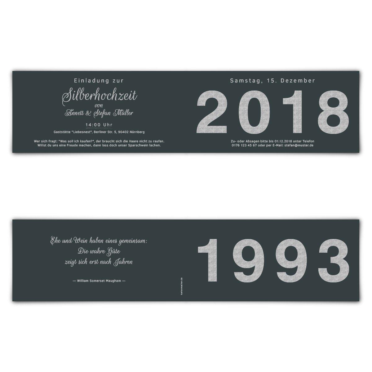 100 x Hochzeitseinladungen Silberhochzeit silberne Hochzeit Hochzeit Hochzeit Einladung - Jahrzehnt Sprung B07G2HZ7Z6 | Niedriger Preis und gute Qualität  | Reichhaltiges Design  | Wirtschaftlich und praktisch  1bd793