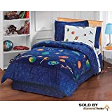 6 Piece Kids Blue Sun Moon Stars Comforter Set, Outer Space Galaxy Invaders Space-Themed Design with Stars, Detailed Planet and Rocket Design Print (Full Size)