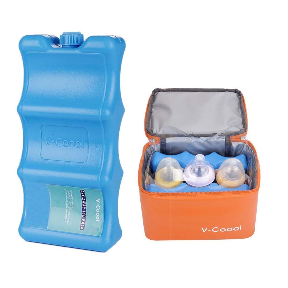 2PCS Reusable Ice Packs Cooler Bag, Cool Bag - Breast Milk Bottle Storage Bag for Breastmilk Storage Healthy Baby Care Kit, Multi-Purpose Fresh Ice Pack Contoured Shape Fits Around Breast Milk Bottles Perfectly XinHome