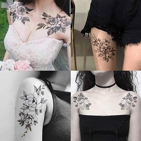 Rose Tattoo Sticker Impermeable Hombres y mujeres Marea Flor de ...