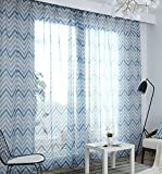 ASide BSide Natural Style Floral Printed Sheer Curtains Drapes Rod Pocket Transparent Voile Beautiful Home Decorations For Living Room Dining Room and Kids Room (1 Panel, W 52 x L 63 inch, Blue)